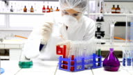 Scientist working at the chemistry laboratory. video
