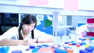 Scientist writing notebook in laboratory video
