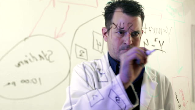 Scientist Writing on the Clear Board video