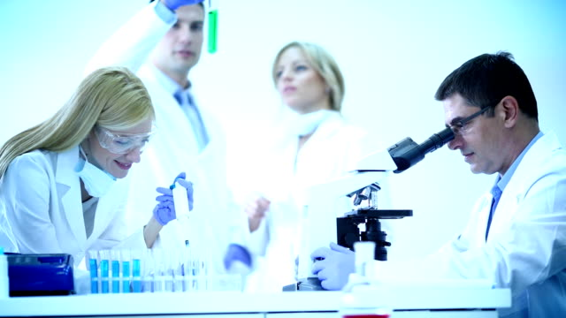 Scientists in a laboratory. video