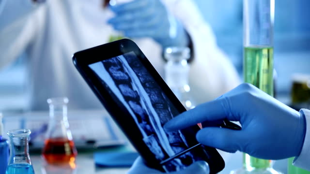 Scientists with digital tablet and x rays. video
