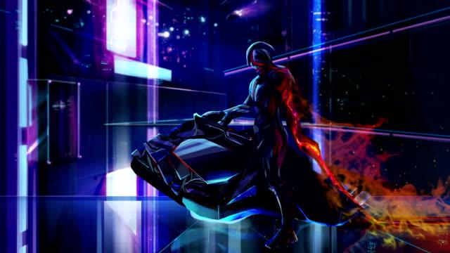 Sci-fi neon warrior on bike. video