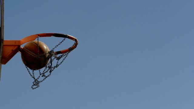Scoring a basket in a basketball hoop. video