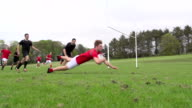Scoring a try in Rugby match (Sport) Super Slow Motion video