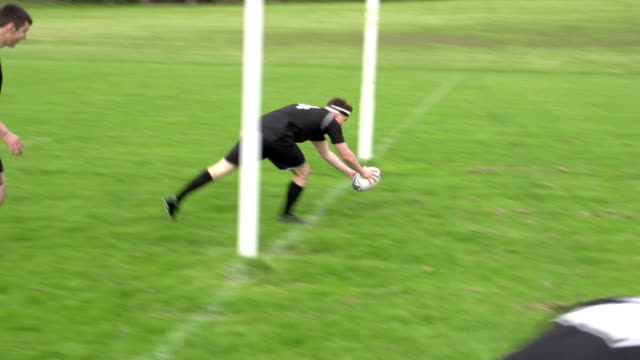 Scoring a try in Rugby match under the posts (Sport) video