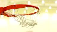Scoring basket in basketball court video