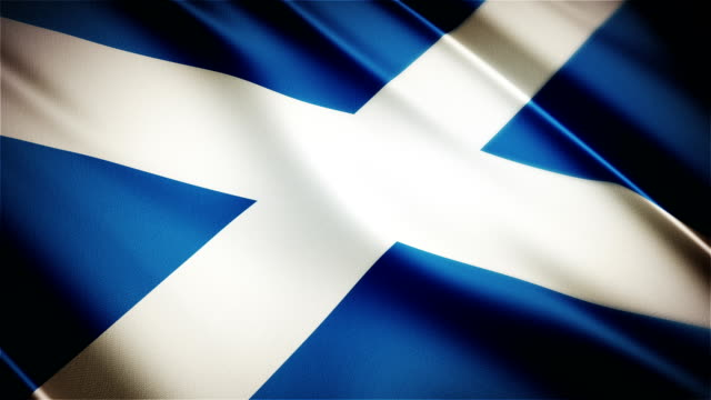 Scotland realistic national flag seamless looped waving animation video