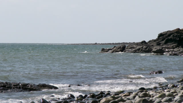 Scottish rocky beach in Dumfries and Galloway during summer video