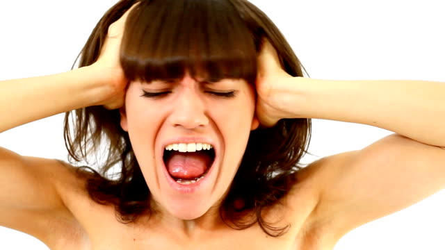 Screaming woman, isolated over white background video