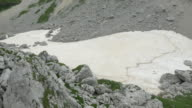 AERIAL: Scree fields with remnants of snow in the summer in rocky mountains video