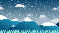 Scroll cartoon winter background video