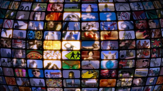 Scrolling media related LOOP. Multimedia Wall, Information Medium, Television, Broadcasting. video