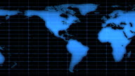 Scrolling World Map Over Blue Grid, HD video