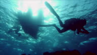 scubadiver and rubberboat video