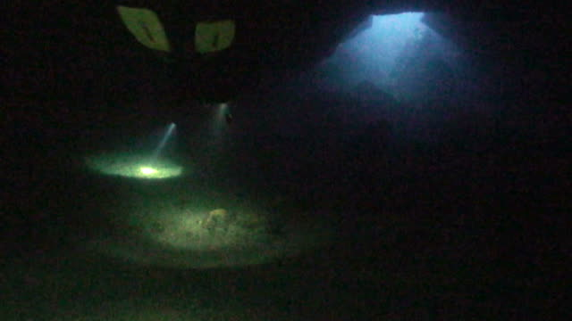 scubadiver in under water cave video