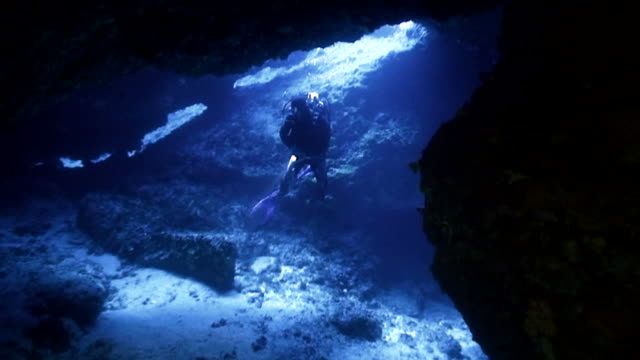 scubadiver in underwater cave video