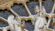 Sculpted images of angels on one of the walls in Notre Dame Cathedral video