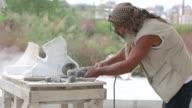 Sculptor is creating a sculpture video