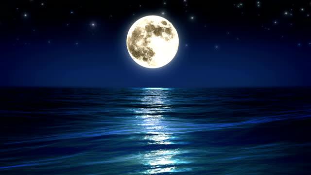 Sea and moon. Night sky. Looped animation. HD 1080. video
