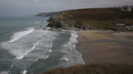 Sea and waves coming in Porthtowan near St Agnes Cornwall England video