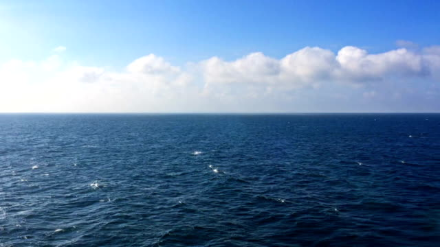 Sea, floating by, horizon and clouds video