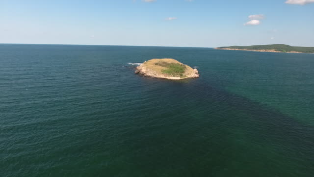 sea island drone footage in sunny day video