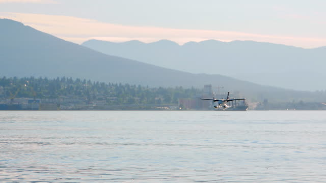 4K Sea Plane Landing, Coal Harbour, North Vancouver video
