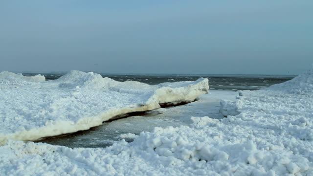 Sea ripples in ice crack video