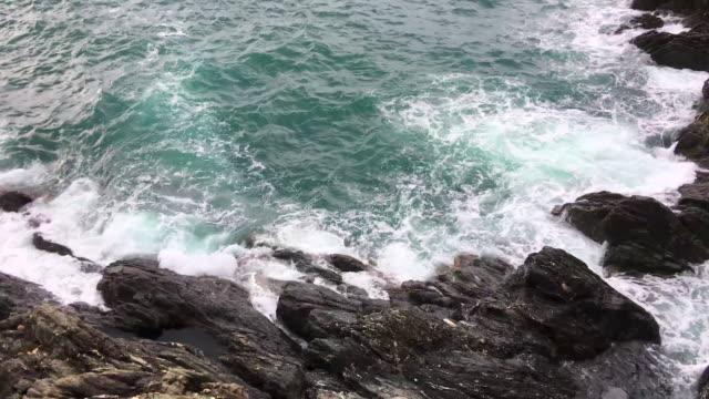 Sea & rocky coastline in Cinque terre video