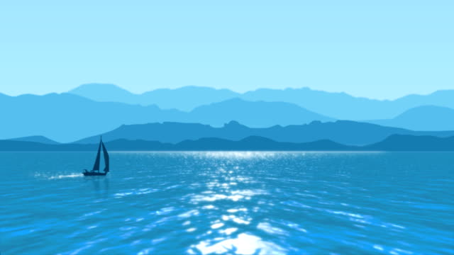 Sea sailing with background of blue mountains video