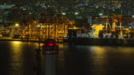 Sea shipping port in night time at odaiba, japan. Cargo shipping video