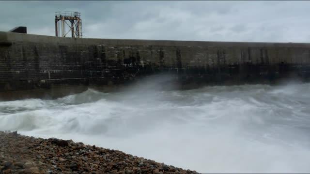 Sea storm at port video