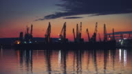 Sea Sunset. Industrial port with cranes in Varna. Bulgaria. video