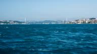 Sea traffic in Bosphorus strait video