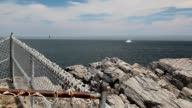 Sea view from Portland Head Light with approaching fog video
