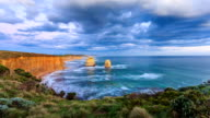 sea wave and skyline at shore of twelve apostles, timelapse. video