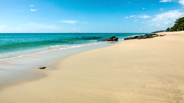 Sea waves on clear sand shore video