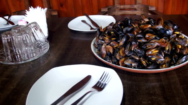 Seafood Mussels on a Plate In a Restaurant video