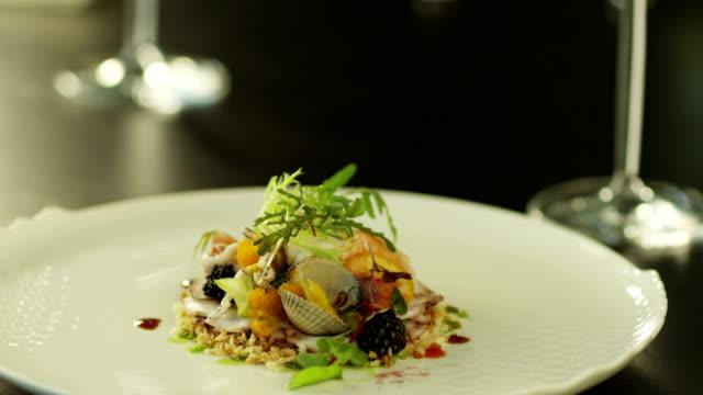 Seafood Salad on White Plate. video