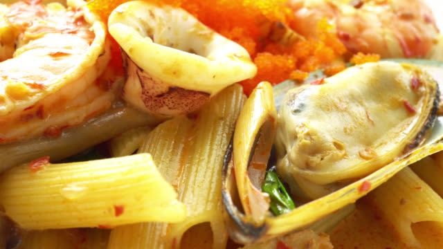 4K Seafood tom yum pasta video