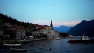 Seafront of Perast town in the evening video
