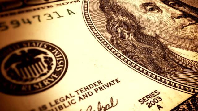 Seamless animation of hundred dollar bill video