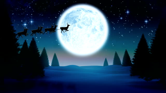 Seamless christmas scene with flying santa sleigh video