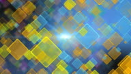 Seamless loop cool blue and yellow color motion background with animated squares. Light ray beam effect, UHD 4k. video