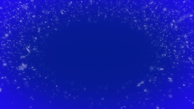 seamless loop of falling snowflakes on blue background video