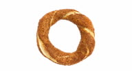 Seamless loop of traditional Turkish food called as Simit in Turkey video