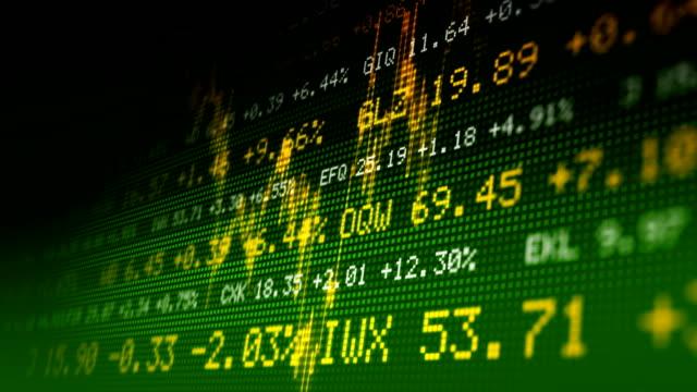 Seamlessly loopable stock exchange data board. HD720 progressive. video