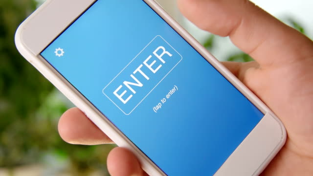 Search engine marketing concept application on the smartphone. Man uses mobile app. video