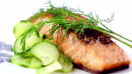 Seared Salmon Filet Garnished with Dill and Lemon video