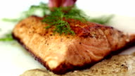 Seared Salmon Filet Garnished with Dill video